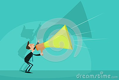 Businessman announcing through Megaphone