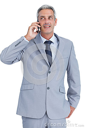 Businessman answering phone