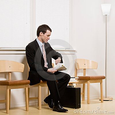 Businessman anxiously waiting for appointment