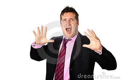 Businessman appearing shocked