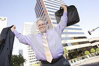 Businessman With Arm Raised