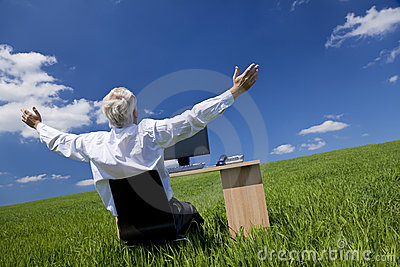 Businessman Arms Raised At Desk In Green Field