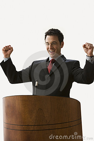Businessman with Arms Raised - Isolated.