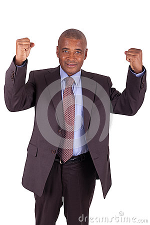 Businessman with arms raised isolated
