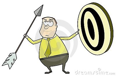 Businessman with an arrow and target