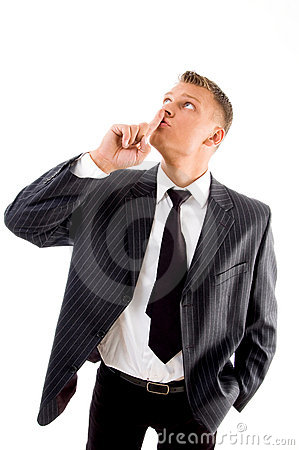 Businessman asking to keep silent