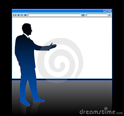 Businessman on background with web browser
