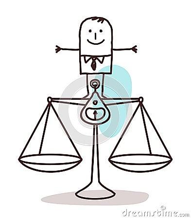 Businessman and balance Vector Illustration