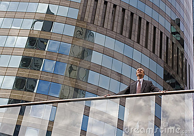 Businessman on the balcony