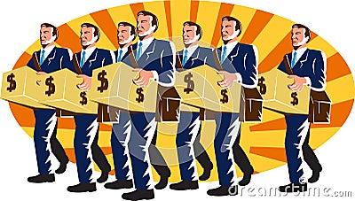 Businessman Banker Worker Carry Money Box Retro
