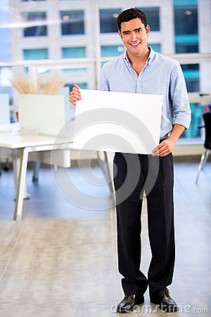 Businessman with a banner