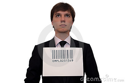 Businessman with barcode, isolated on white