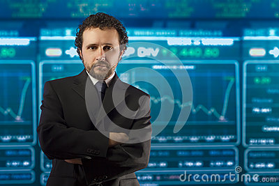 Businessman with beard and black suit