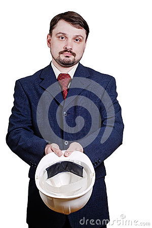 Businessman begging on white background