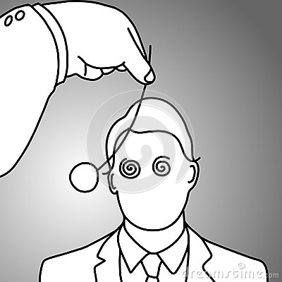 Free Businessman Being Hypnotized With Coin Vector Illustration Stock Photography - 107348272
