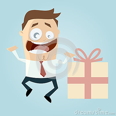 Businessman with big gift