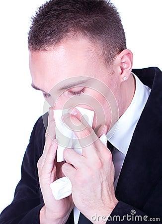Businessman with a big influenza hold handkerchief