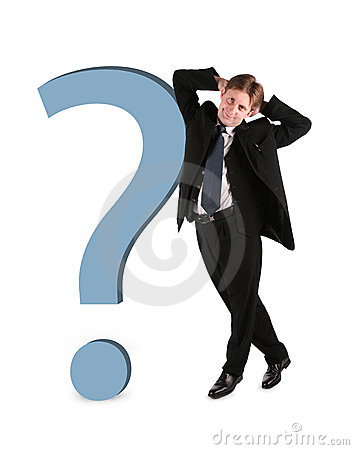 Businessman with big question isolated