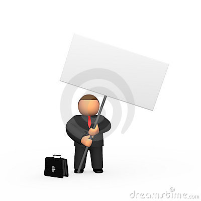 Businessman with billboard