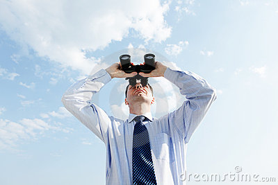 Businessman With Binoculars Stock Image - Image: 9321901