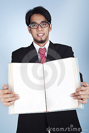 Businessman with a blank book