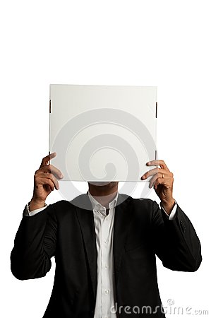 Businessman with blank carton