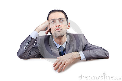 Businessman with blank message