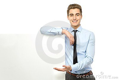 Businessman with blank poster