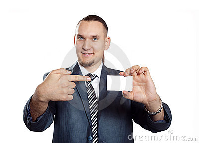Businessman with blank visit card