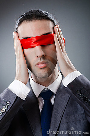 Businessman blinded by  tape