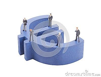Businessman on blue euro symbol