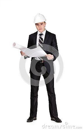 Businessman with blueprint