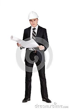 Businessman with blueprint