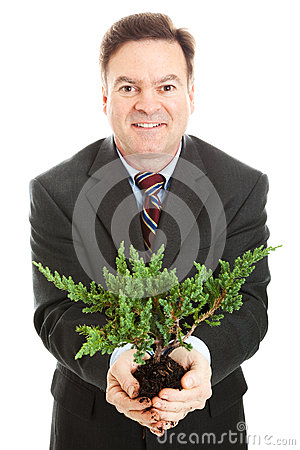 Businessman with Bonsai