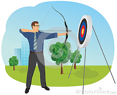 Businessman with bow and arrow