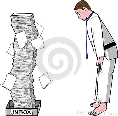 Businessman Bowing to His Inbox