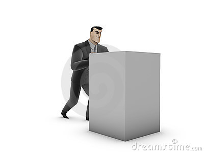 Businessman And Box