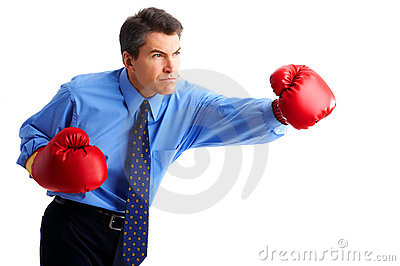 Businessman boxer