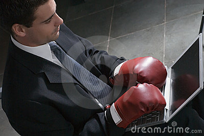 Businessman with Boxing Gloves - Horizontal