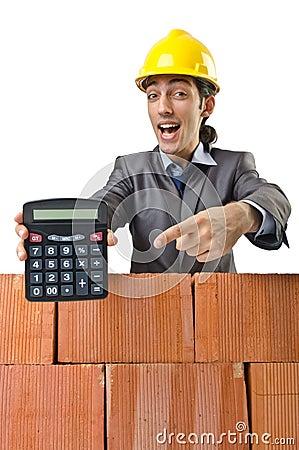 Businessman with bricks