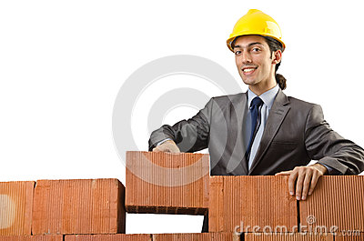 Businessman with bricks