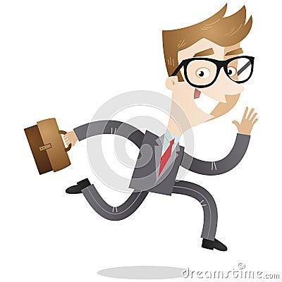 Businessman with briefcase running to work
