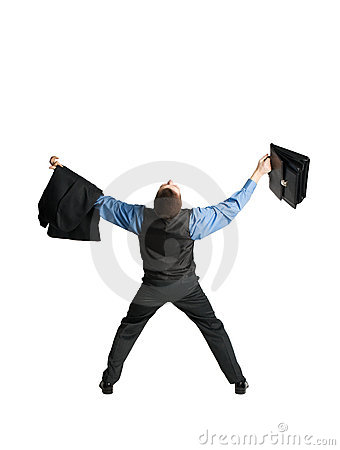 Businessman with briefcase spreading out his arms