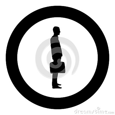 Businessman with briefcase standing Man with a business bag in his hand silhouesse icon black color illustration in circle round Vector Illustration
