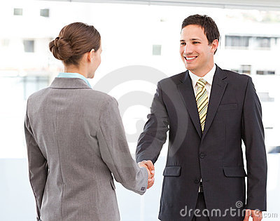 Businessman and businesswoman concluding a deal