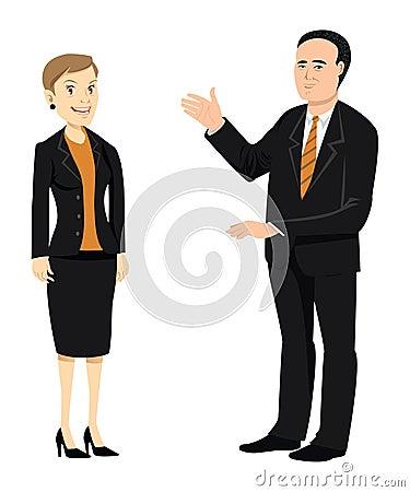 Businessman & businesswoman older