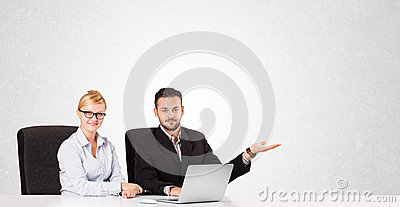 Businessman and businesswoman with plain white copy space