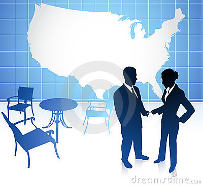 Businessman and businesswoman on united states