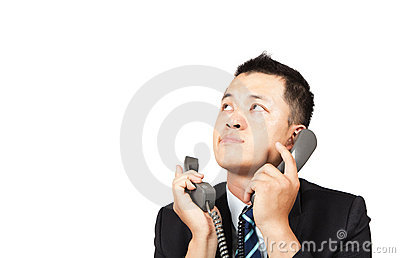 Businessman busy on the phone
