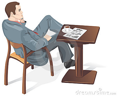 Businessman in a cafe, vector